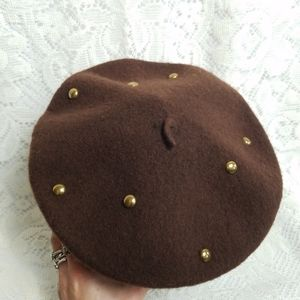 Felted Wool Tam Beret Style Hat Brown Brass Stud